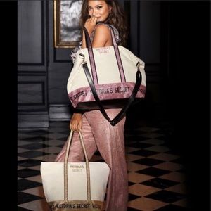 Victoria's Secret Set of Two Gold & Pink Tote Bags